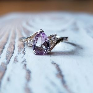 Jewelry - Amethyst Teardrop ring with cz accents SS sz 8